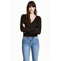 H&M Sweter w prążki 0485814001 Czarny
