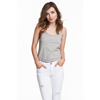 H&M Koszulka w prążki 0478843009 Grey marl