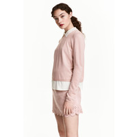 H&M Cienki sweter z kołnierzykiem 0471860002 Pudroworóżowy