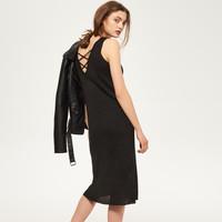 Reserved Długa sukienka z prążkowanej dzianiny RF692-99X