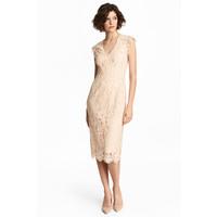 H&M Koronkowa sukienka 0483751002 Jasnobeżowy