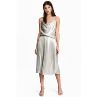 H&M Plisowana spódnica 0492554001 Srebrny
