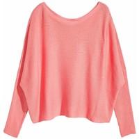 H&M Sweter o splocie w prążki 0494859001 Koraloworóżowy
