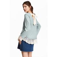 H&M Sweter z koronką 0424511002 Szaroturkusowy