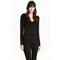 H&M Sweter z dekoltem w serek 0495909004 Czarny