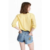 H&M Bawełniana koszula 0463285009 Żółty
