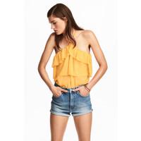 H&M Top z odkrytymi ramionami 0497806001 Żółty