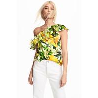 H&M Bluzka na jedno ramię 0525628001 Biały/Żółty wzór