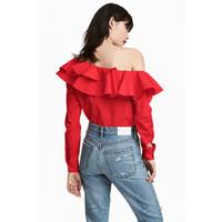 H&M Bluzka na jedno ramię 0553310005 Czerwony