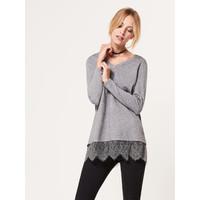 Mohito Szary sweter z koronkowym wykończeniem RR568-90X