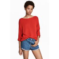 H&M Sweter robiony lewym ściegiem 0244267014 Czerwony