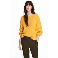 H&M Sweter o luźnym splocie 0502186001 Żółty