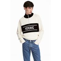 H&M Cienki sweter z kołnierzem 0497925005 Biały/Czarny