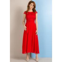 Monnari Sukienka maxi z koronkowym karczkiem SUKPOL0-18L-DRE1070-K005D601-R36
