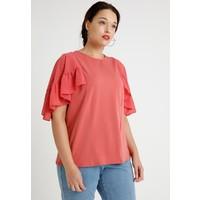 Lost Ink Plus DOBBY FLUTTER SLEEVE T-shirt z nadrukiem pink/coral LOA21D00Q