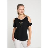 Even&Odd active T-shirt z nadrukiem jet black EV941D019