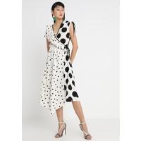 Topshop MIXED SPOT WRAP Długa sukienka white/black TP721C0YV