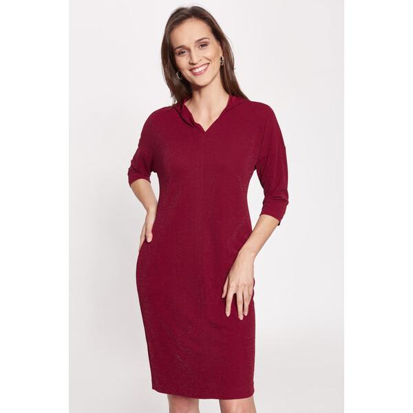 Quiosque Bordowa sukienka z kapturem 4KO029602