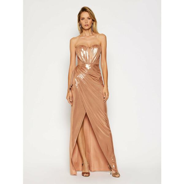 Elisabetta Franchi Sukienka wieczorowa AB-093-07E2-V489 Złoty Slim Fit