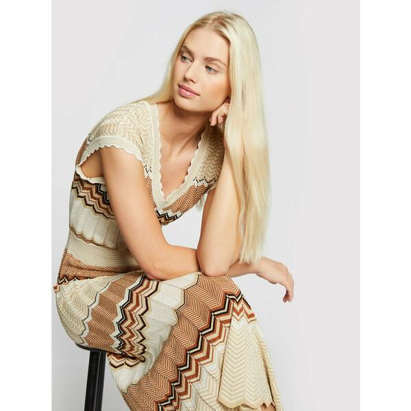 Morgan Sukienka dzianinowa 211-RMJINI Beżowy Regular Fit