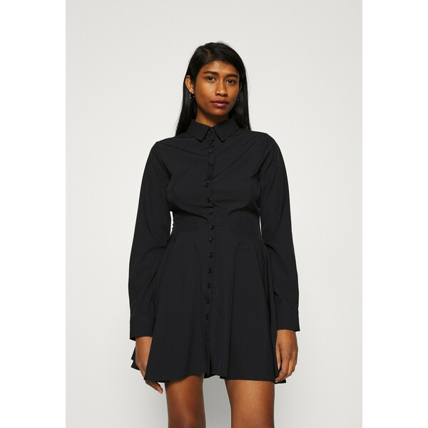 Missguided BUTTON DOWN SKATER DRESS Sukienka koszulowa black M0Q21C1AN