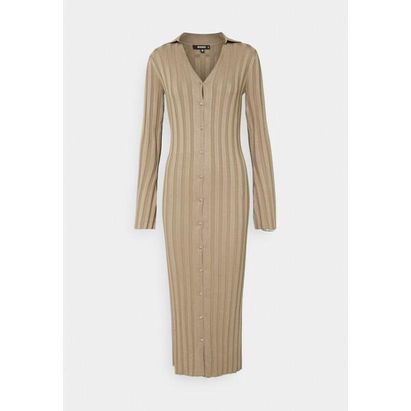 Missguided V NECK COLLARED MIDAXI DRESS Sukienka dzianinowa stone M0Q21C1WU
