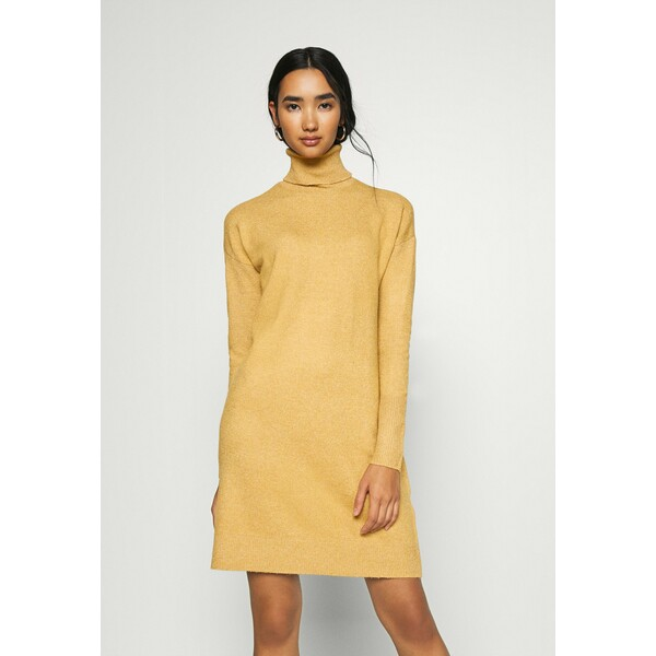 Vero Moda VMBRILLIANT ROLLNECK DRESS Sukienka dzianinowa buckthorn brown melange VE121C2F0