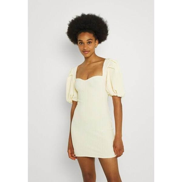 Missguided PUFF SLEEVE BANDAGE MINI DRESS Sukienka dzianinowa cream M0Q21C1WY