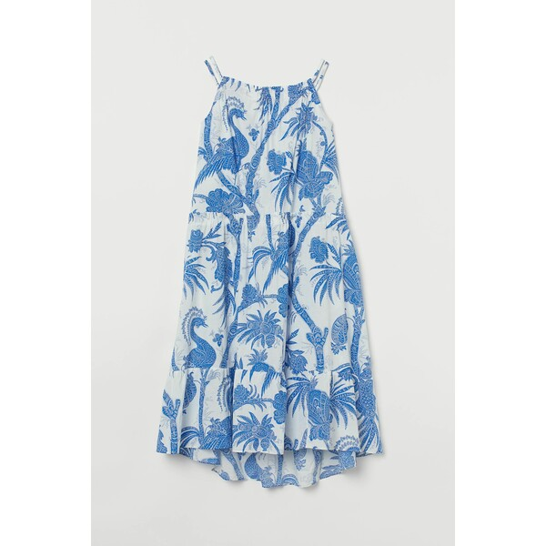 H&M Bawełniana sukienka trapezowa 0893752002 Biały/Niebieski wzór