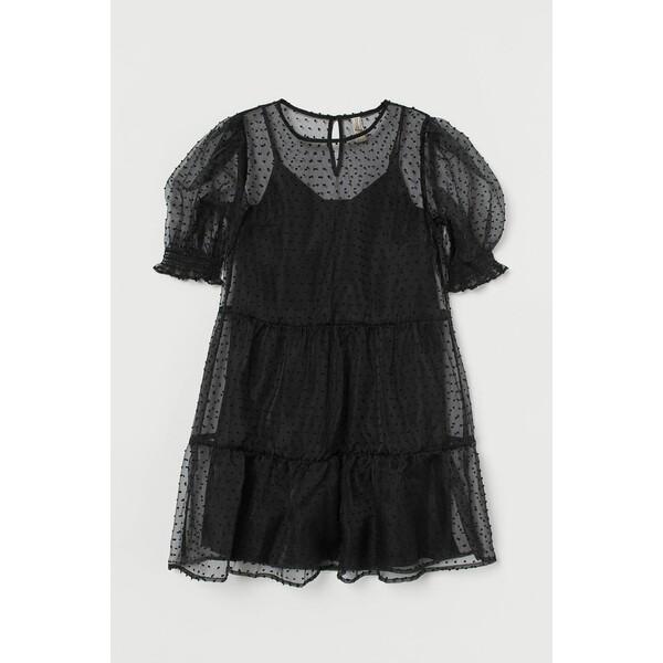 H&M Sukienka z bufiastym rękawem 0901588002 Czarny/Kropki