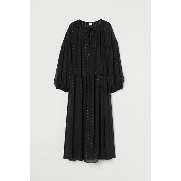 H&M Długa sukienka z szyfonu 0949269001 Czarny