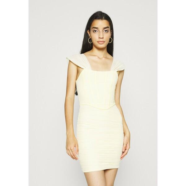 Missguided CORSET DETAIL BARDOT BODYCON DRESS Sukienka koktajlowa cream M0Q21C1ZY