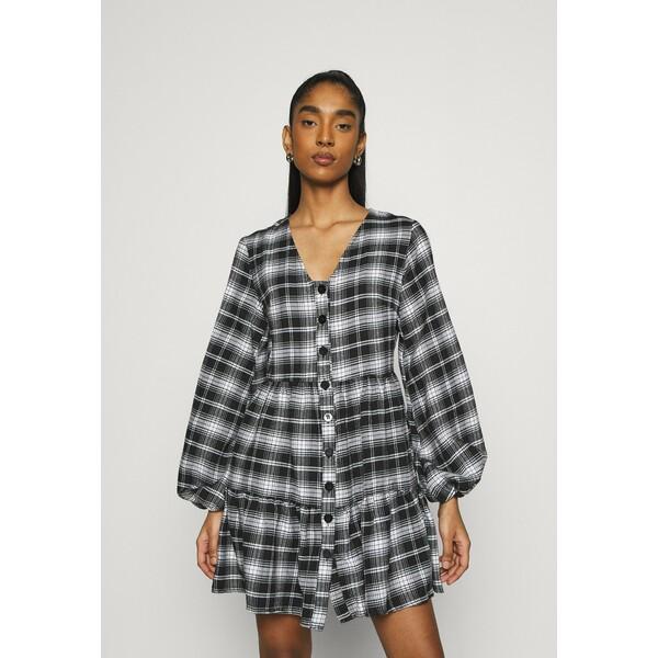 Missguided BUTTON PLUNGE SMOCK DRESS Sukienka letnia black M0Q21C1TG
