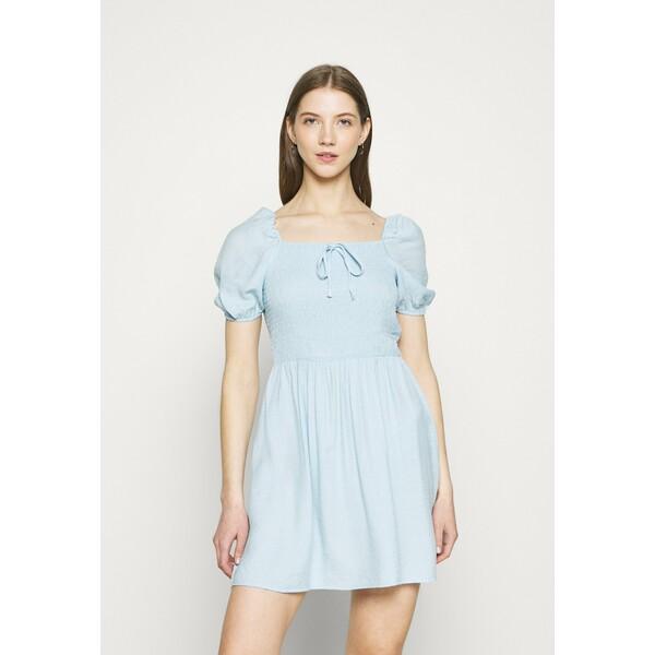 Missguided SHIRRED PUFF SLEEVE SKATER DRESS Sukienka letnia blue M0Q21C1Y2