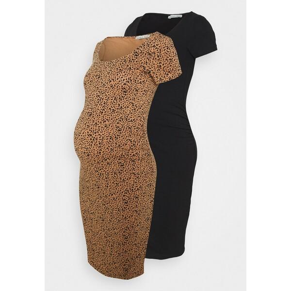 Anna Field MAMA 2 PACK Sukienka z dżerseju black/multicolor EX429F045