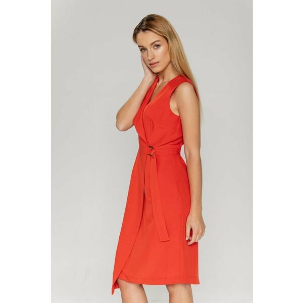 Bialcon Sukienka z dżerseju koralowy B0H21C01F