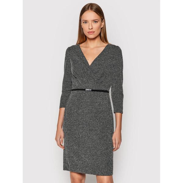 Lauren Ralph Lauren Sukienka koktajlowa Birdseye 250807637001 Czarny Slim Fit