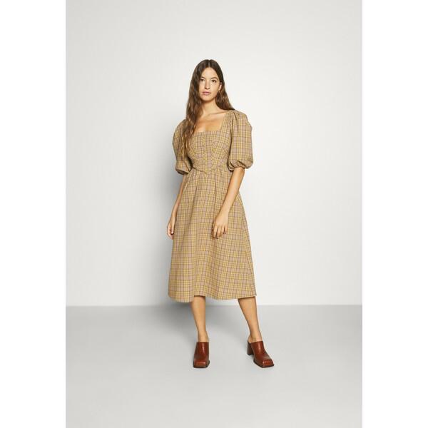 Alexa Chung PHYLLIS MILK MAID DRESS Sukienka letnia ivory/yellow/camel A2B21C00B