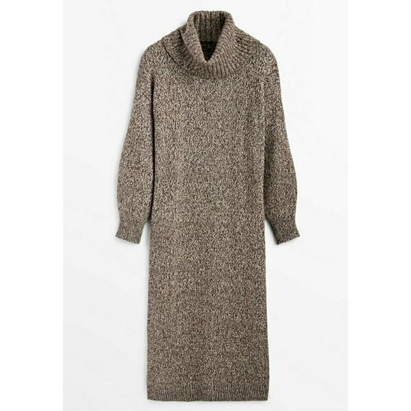 Massimo Dutti LIMITED EDITION Sukienka etui brown M3I21C0HI