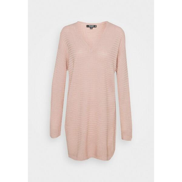 Missguided Tall V NECK DRESS Sukienka dzianinowa pale pink MIG21C0E6