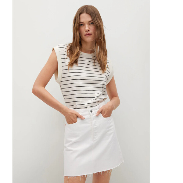 Mango Spódnica jeansowa Rachel 17010818 Biały Regular Fit