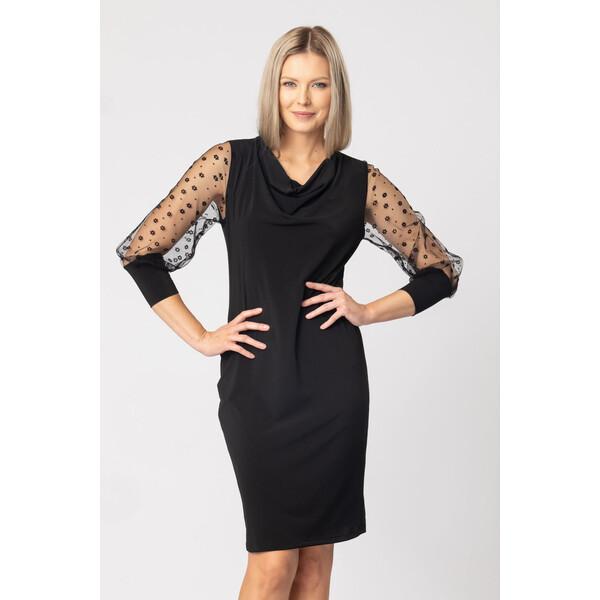 Quiosque Czarna sukienka z tiulowym rękawem 4KK021299