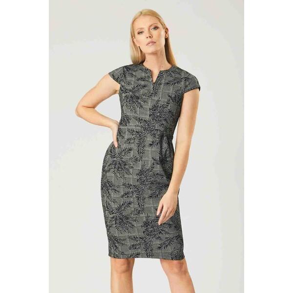 Quiosque Czarno-biała strukturalna sukienka ze wzorem 4KZ009248
