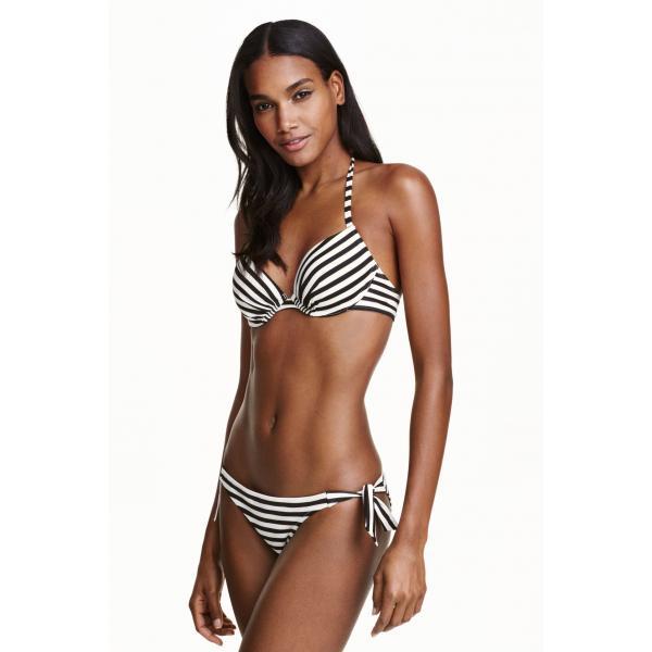 H&M Dół od kostiumu 0352106003 Czarny/Białe paski
