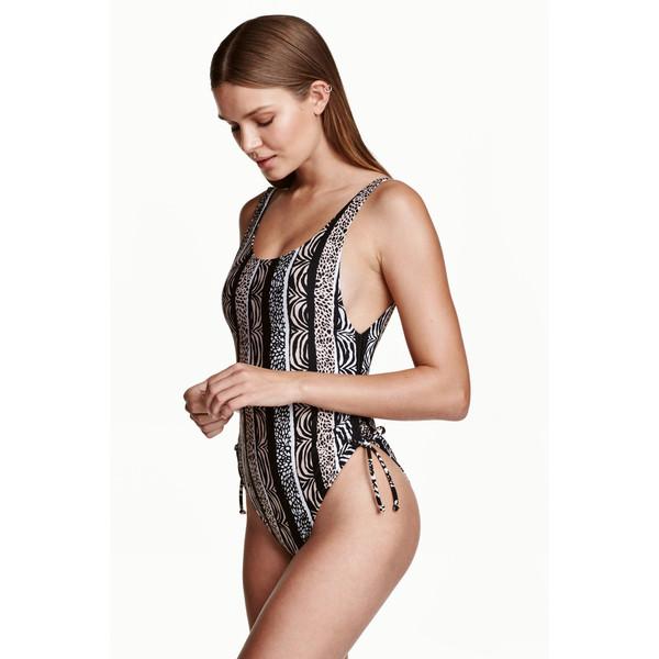 H&M Kostium kąpielowy z wiązaniem 0416619003 Czarny/Beżowy wzór