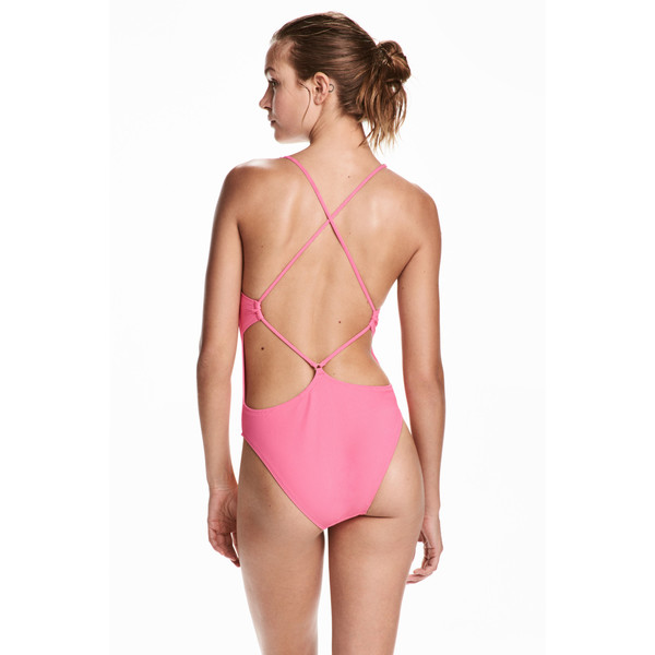 H&M Kostium kąpielowy High leg 0471906001 Różowy
