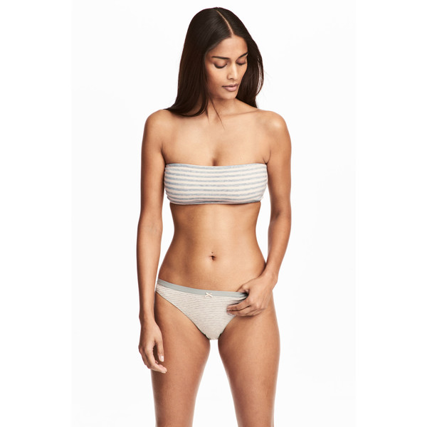 H&M Figi bikini 3-pak 0491052003 Szary/Paski