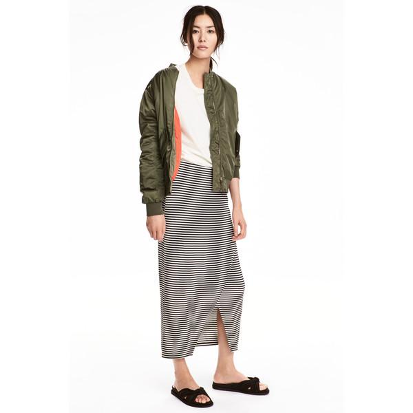 H&M Spódnica z dżerseju w prążki 0520513001 Biały/Czarne paski
