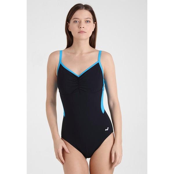 Arena CARLA WING BACK ONE PIECE Kostium kąpielowy black/turquoise A1581G00W