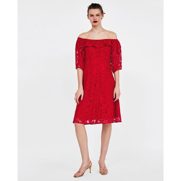 Zara KORONKOWA SUKIENKA Czerwony 8741/021